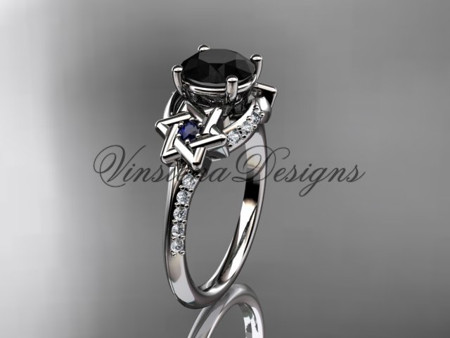 Platinum  diamond, jewish Star of David ring, enhanced Black Diamond engagement ring VH10015