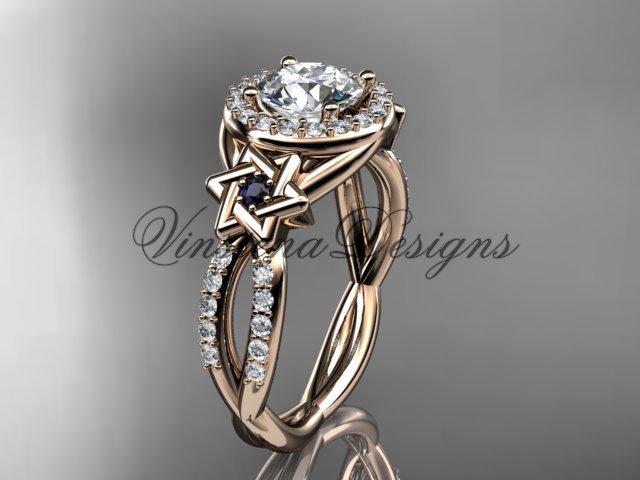 14kt rose gold, diamond, Star of David ring,  engagement ring, Forever One Moissanite VH10016