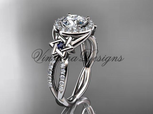 Platinum, diamond, Star of David ring,  engagement ring, Forever One Moissanite VH10016