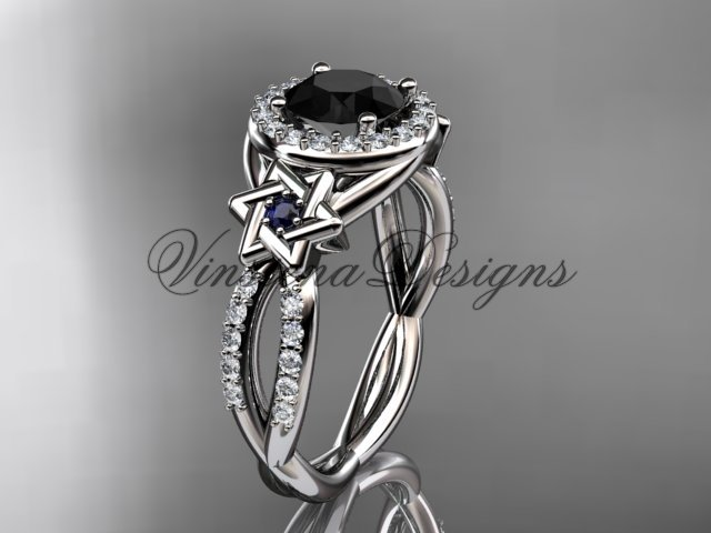 Platinum, diamond, Star of David ring, engagement ring, enhanced Black Diamond VH10016