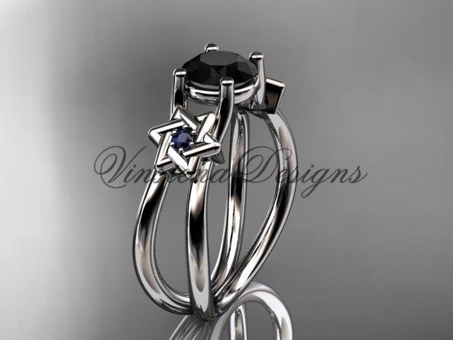 14kt white gold, Star of David, jewish ring, engagement ring, enhanced Black Diamond VH10017