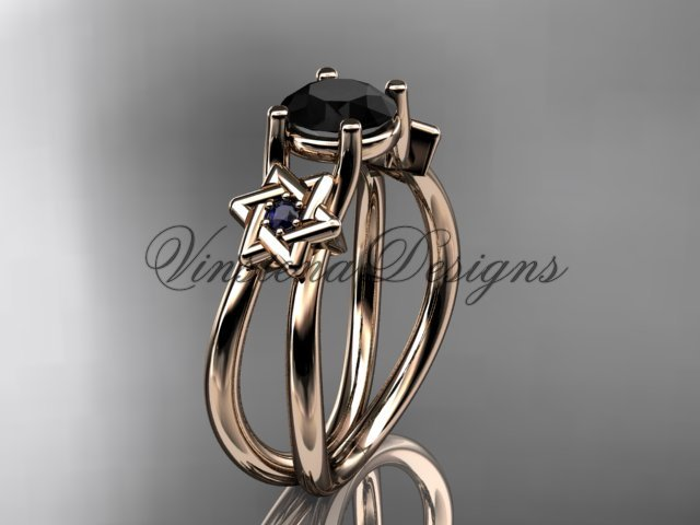 14kt rose gold, Star of David, jewish ring, engagement ring, enhanced Black Diamond VH10017