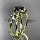 14kt yellow gold, Star of David, jewish ring, engagement ring, enhanced Black Diamond VH10017
