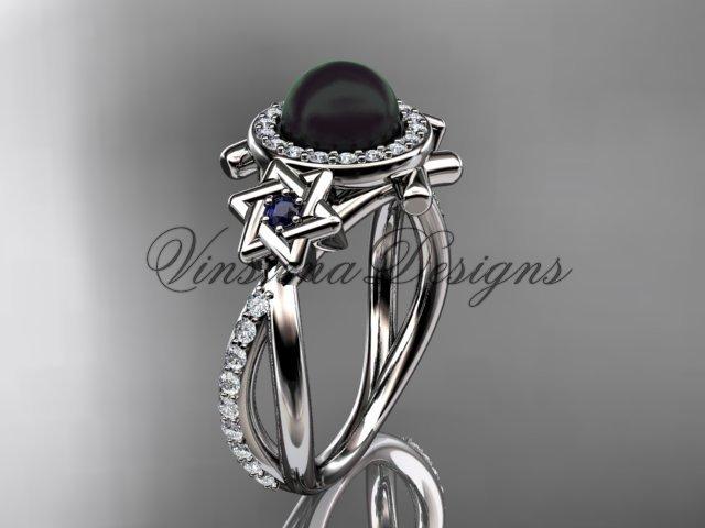 14kt white gold, diamond, Star of David ring, jewish ring, engagement ring, Cultured Pearl VHBP10012