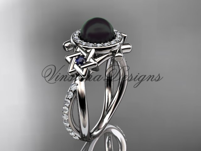 Platinum, Star of David ring, jewish ring, engagement ring, Cultured Pearl VHBP10012