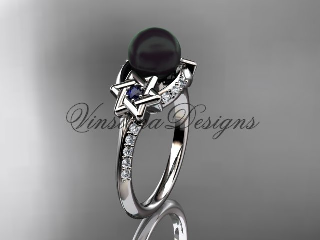 14kt white gold diamond, Star of David jewish ring, engagement ring, Cultured Pearl VHBP10015