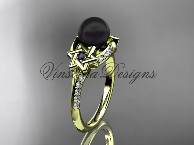 14kt yellow gold diamond, Star of David jewish ring, engagement ring, Cultured Pearl VHBP10015