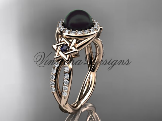 14kt rose gold, diamond, Star of David jewish ring, engagement ring, Cultured Pearl VHBP10016
