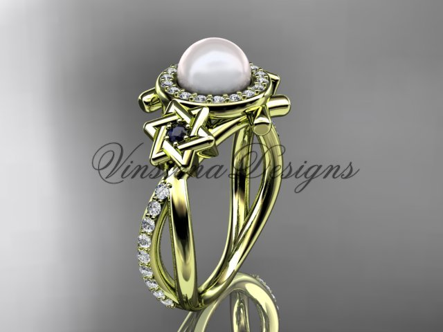14kt yellow gold diamond, Star of David ring, jewish ring, engagement ring, Cultured Pearl VHP10012