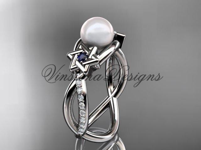 Platinum  diamond, Star of David ring, jewish ring, engagement ring, Cultured Pearl VHP10013