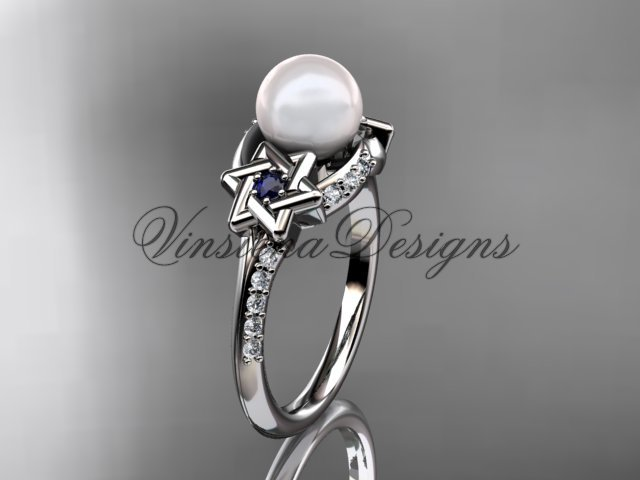 Platinum diamond, Star of David ring, jewish ring, engagement ring, Cultured Pearl VHP10015
