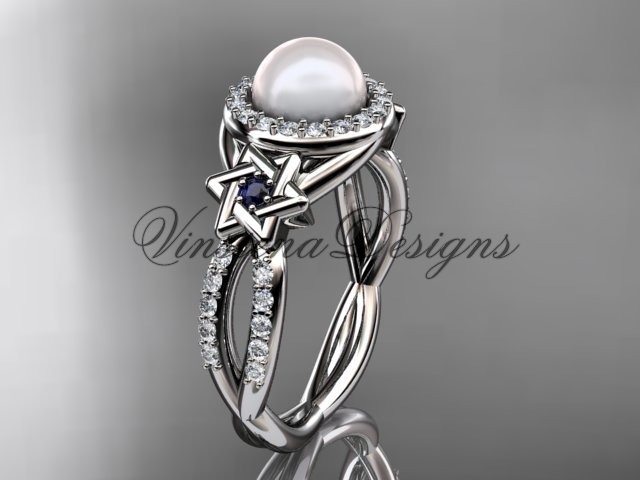 14kt white gold, diamond, Star of David jewish ring, engagement ring, Cultured Pearl VHP10016