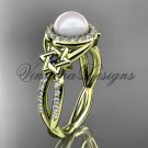 14kt yellow gold, diamond, Star of David jewish ring, engagement ring, Cultured Pearl VHP10016