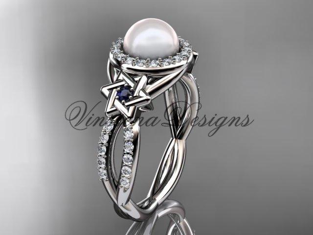 platinum, diamond, Star of David jewish ring, engagement ring, Cultured Pearl VHP10016