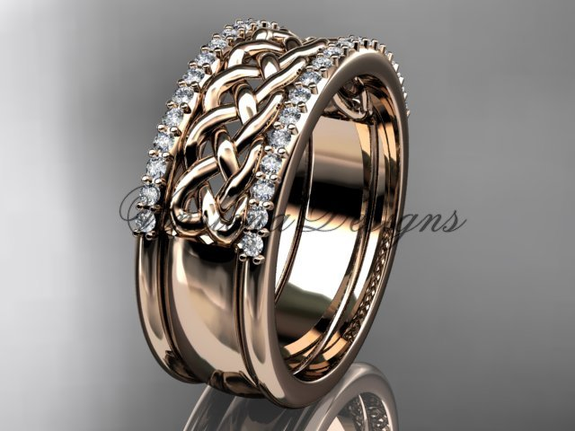 14kt rose gold diamond wedding band VD208406B