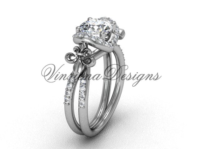 14kt white gold diamond Fleur de Lis, halo engagement ring VD208140