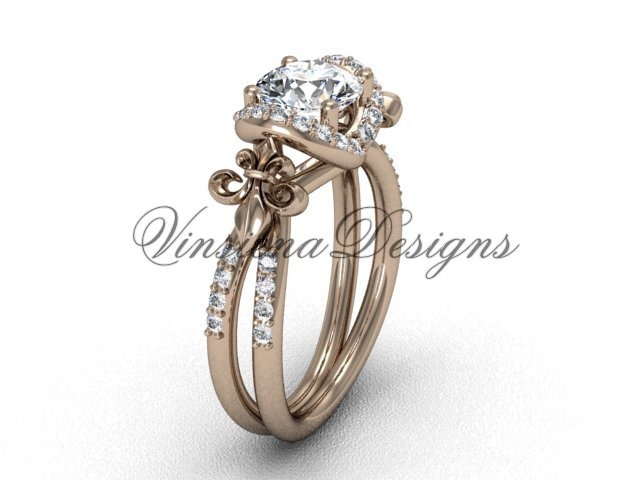 14kt rose gold diamond Fleur de Lis, halo engagement ring VD208140