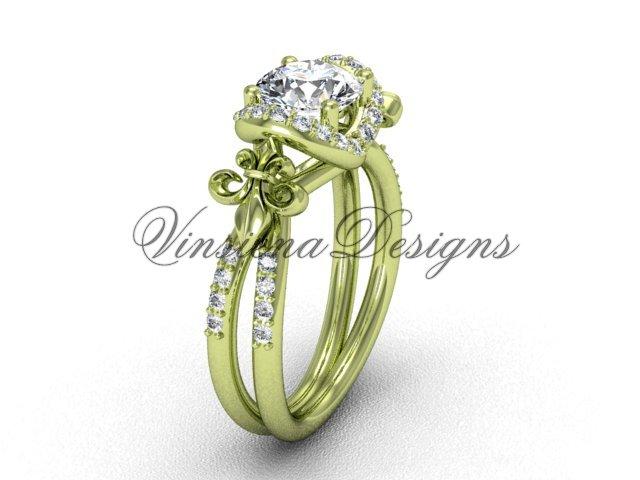 14kt yellow gold diamond Fleur de Lis, halo engagement ring VD208140