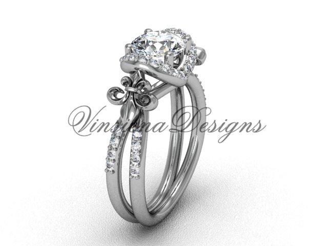 14kt white gold diamond Fleur de Lis, halo engagement ring, One Moissanite VD208140