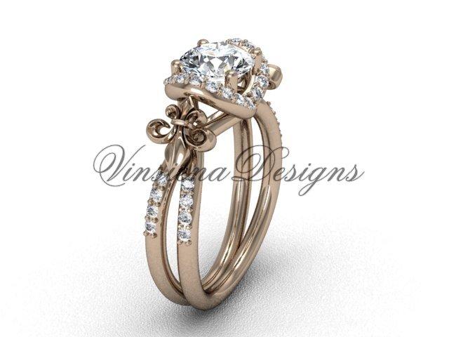 14kt rose gold diamond Fleur de Lis, halo engagement ring, One Moissanite VD208140