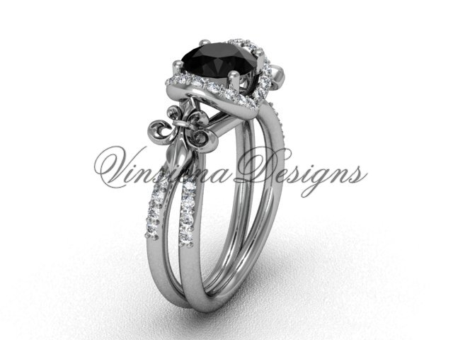 14kt white gold diamond Fleur de Lis, halo engagement ring, enhanced Black Diamond VD208140