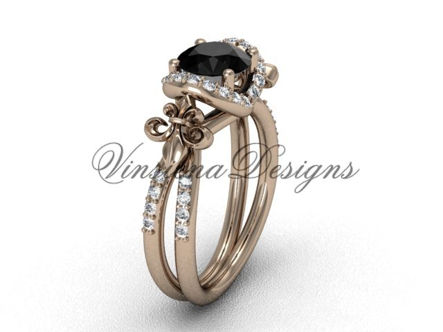 14kt rose gold diamond Fleur de Lis, halo engagement ring, enhanced Black Diamond VD208140