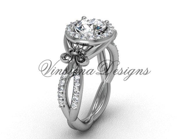 14kt white gold diamond Fleur de Lis, halo engagement ring VD208127
