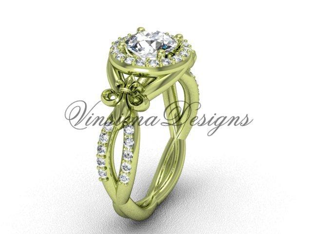 14kt yellow gold diamond Fleur de Lis, halo engagement ring VD208127