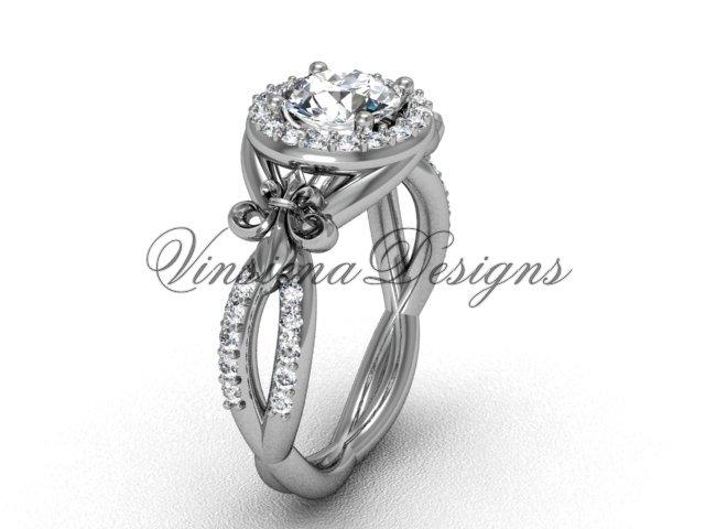 14kt white gold diamond Fleur de Lis, halo engagement ring, One Moissanite VD208127