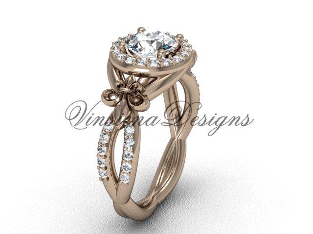 14kt rose gold diamond Fleur de Lis, halo engagement ring, One Moissanite VD208127