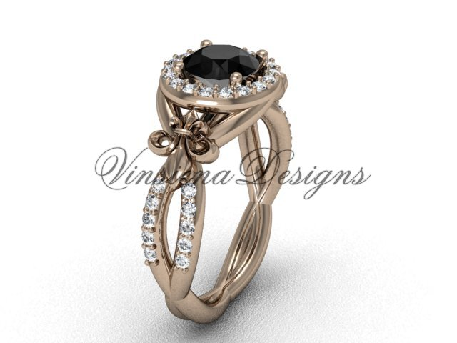 14kt rose gold diamond Fleur de Lis, halo engagement ring, enhanced Black Diamond VD208127