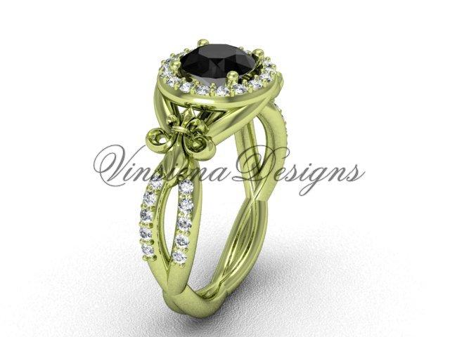 14kt yellow gold diamond Fleur de Lis, halo engagement ring, enhanced Black Diamond VD208127