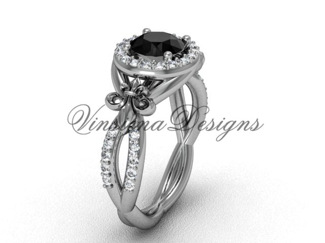 Platinum  diamond Fleur de Lis, halo engagement ring, enhanced Black Diamond VD208127