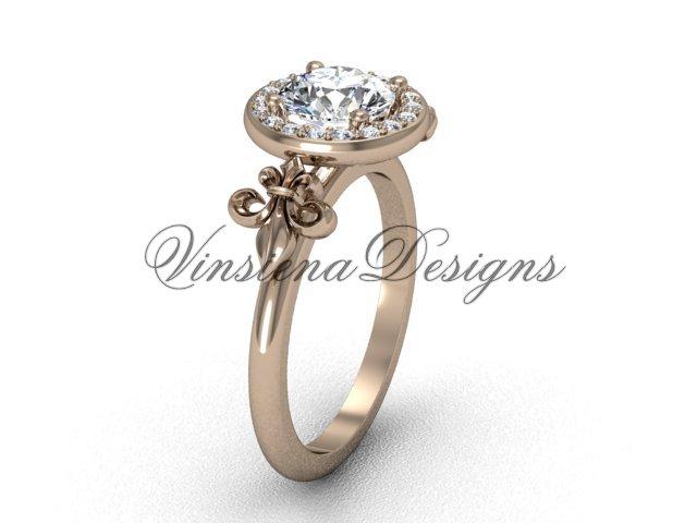 14kt rose gold diamond, halo ring, Fleur de Lis engagement ring, One Moissanite VD208129