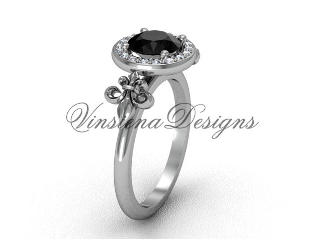 14kt white gold diamond, halo ring, Fleur de Lis engagement ring, enhanced Black Diamond VD208129