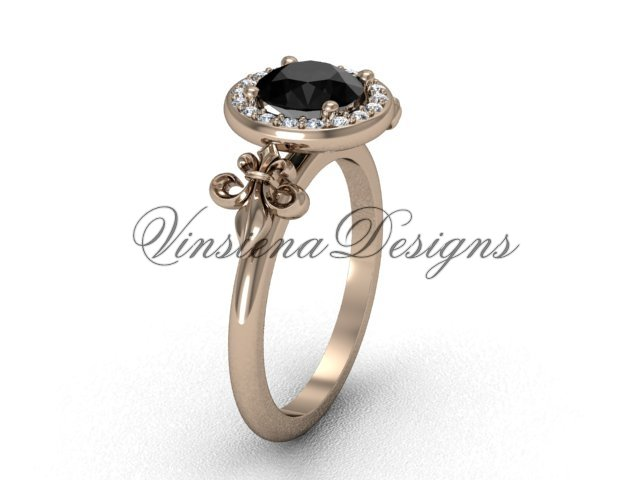 14kt rose gold diamond, halo ring, Fleur de Lis engagement ring, enhanced Black Diamond VD208129