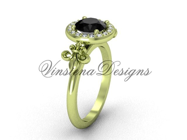 14kt yellow gold diamond, halo ring, Fleur de Lis engagement ring, enhanced Black Diamond VD208129