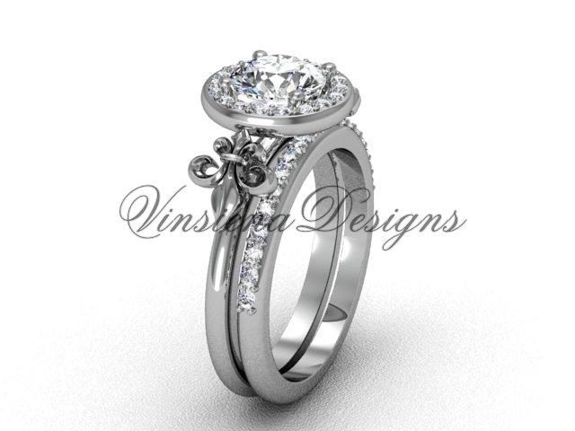 14kt white gold diamond, halo ring, Fleur de Lis engagement ring, One Moissanite VD208129S