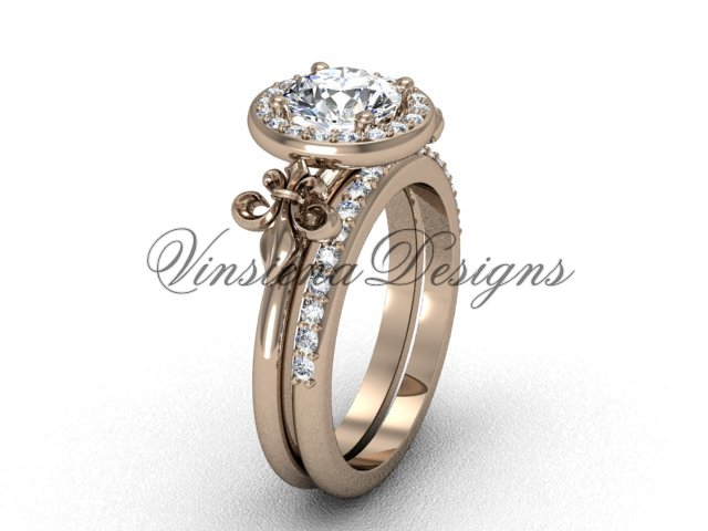 14kt rose gold diamond, halo ring, Fleur de Lis engagement ring, One Moissanite VD208129S