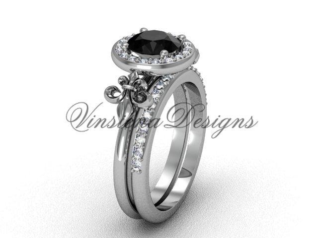 14kt white gold diamond, halo ring, Fleur de Lis engagement ring, enhanced Black Diamond VD208129S