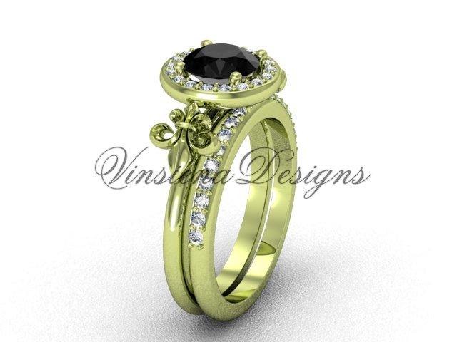 14kt yellow gold diamond, halo ring, Fleur de Lis engagement ring, enhanced Black Diamond VD208129S