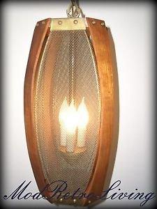 Mid Century Modern Hanging light Swag Lamp Danish Bentwood Metal Art Vintage