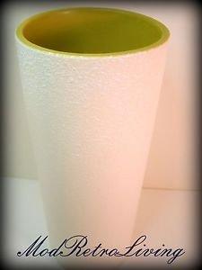 Vintage Haeger Art Pottery Cylinder Vase White Textured Mid Century Modern Green