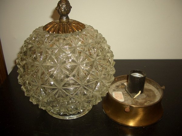 Vintage Crystal Quality Heavy Glass Globe Ceiling Light Hollywood Regency