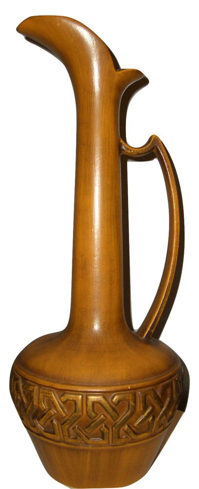 Vtg Haeger Pitcher Vase Retro Mid Century Modern Geometric Pottery Table Art