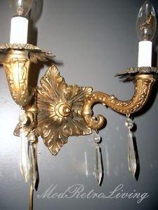 Vintage Cast Metal Ornate Prisms Dual Arm Hollywood Regency Wall Sconce 2 Light