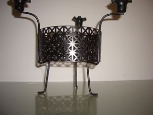 Mid Century Modern Black Metal Atomic Mategot Vinage Candle Holder Candelabra