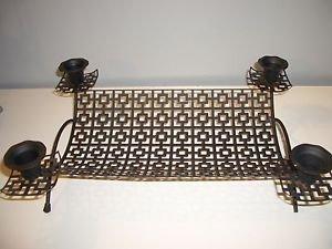 Vintage Metal Candle Holder Candelabra Tray Mategot Style Mid Century Modern Art