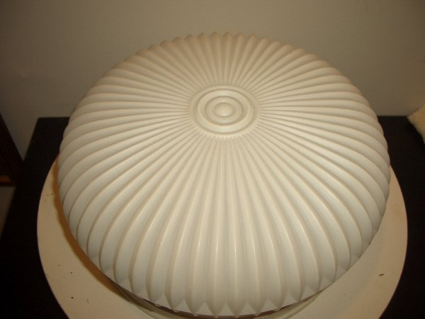Vintage White Glass Mid Century Modern Danish Ceiling 2 Light Fixture Dome Lamp