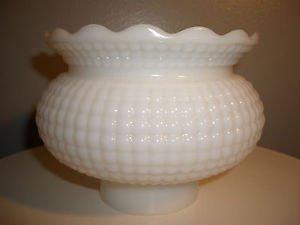 """Vtg Antique White Milk Glass Hurricane Oil Palor Globe 3"""" fitter gas kerosene"""
